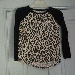 Justice for girls leopard print long sleave tee.